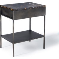 Ambrette Metal & Amber Marble Bedside Table