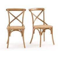 CEDAK Oak & Rattan Chairs (Set of 2)