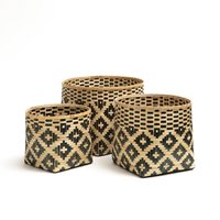 Chicasaw Woven Bamboo Baskets (Set of 3)