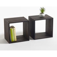 Set of 2 Edgar Stained Oak Storage Cubes