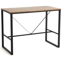 Hiba Industrial Breakfast Bar in Oak/Steel