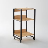 Hiba Rollout Storage Trolley in Pine & Metal