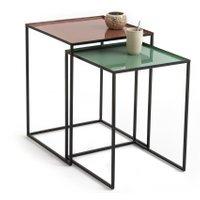 Tivara Set of 2 Square Nesting Side Tables in Steel