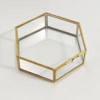 Uyova Hexagonal Box in Glass & Brass