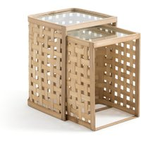 Vidmey Nest of 2 Side Tables in Bamboo & Glass