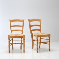 Authentic Style Set of 2 Solid Beech Dining Chairs