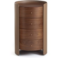 Firmo Walnut & Leather Bedside Table with Drawers