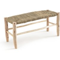 Ghada Bench in Raw Willow Wood and Braided Doum