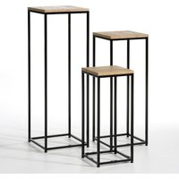 Gisel Set of 3 Contemporary Side Tables in Oak & Metal