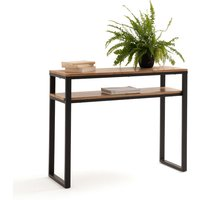 Hiba Solid Oak and Steel Console Table with 2 Shelves