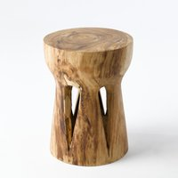 Papung Sculpted Side Table in Suar Wood