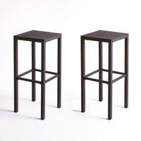Set of 2 Choe Perforated Metal Bar Stools