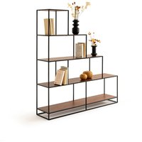 Watford Walnut and Metal Stepped Shelving Unit