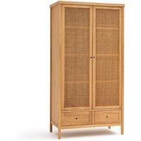 Gabin Solid Pine & Rattan 2-Door Wardrobe