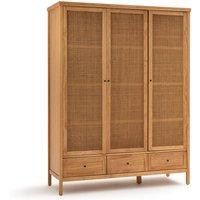 Gabin Solid Pine & Rattan Triple Wardrobe