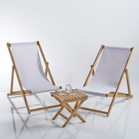 Set of 2 Deckchairs with Small Table