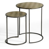Set of 2 Édric Nesting Side Tables in Aged Brass